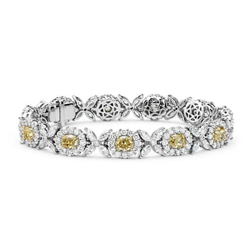 NEW Fancy Yellow and White Diamond Bracelet in 18k White and Yellow Gold