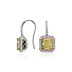 Yellow and White Radiant Cut Diamond Halo Drop Earrings in 18k Yellow Gold and Platinum