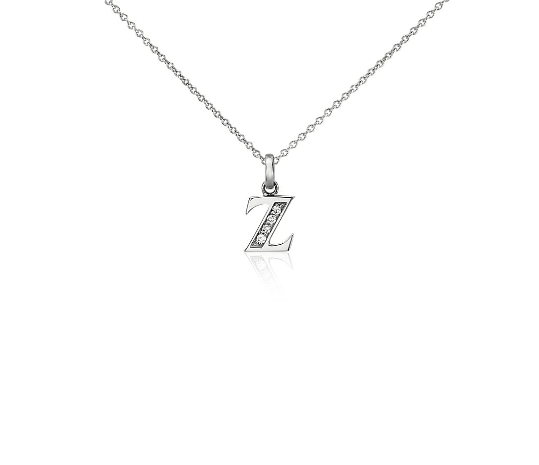 "Mini Initial ""Z"" Diamond Pendant in 14k White Gold"