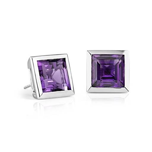 ZAC Zac Posen Amethyst Bezel Earrings in 14k White Gold (10x10mm)