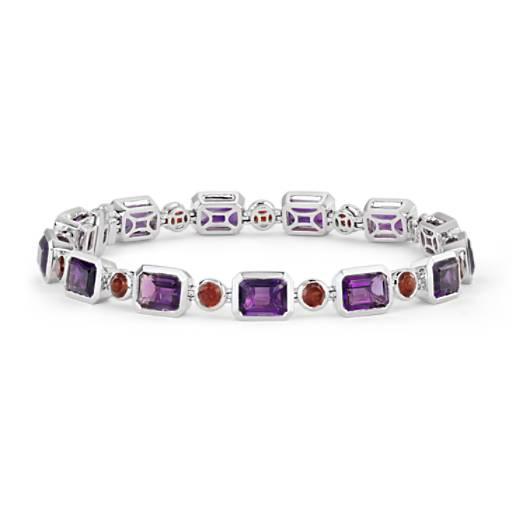ZAC Zac Posen Amethyst and Garnet Bezel Bracelet in 14k White Gold