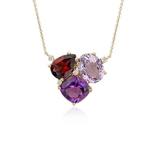 ZAC Zac Posen Amethyst and Garnet Cluster Necklace in 14k Yellow Gold