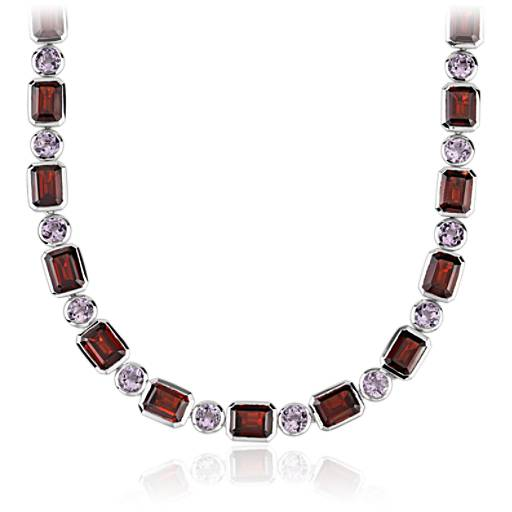 ZAC Zac Posen Garnet and Rose de France Necklace in 14k White Gold (8x6mm)