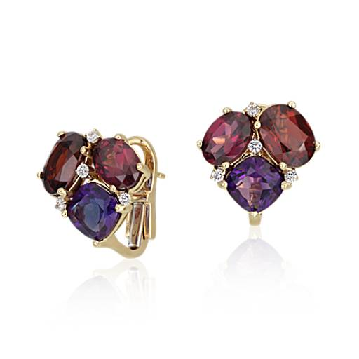 ZAC Zac Posen Amethyst and Garnet Cluster Earrings in 14k Yellow Gold