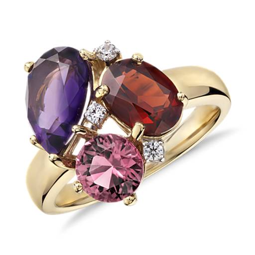 ZAC Zac Posen Amethyst, Garnet  and Pink Tourmaline Cluster Ring in 14k Yellow Gold