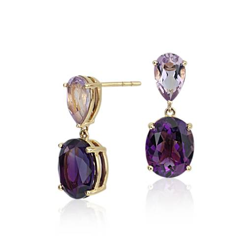 ZAC Zac Posen Amethyst and Rose de France Earrings in 14k Yellow Gold
