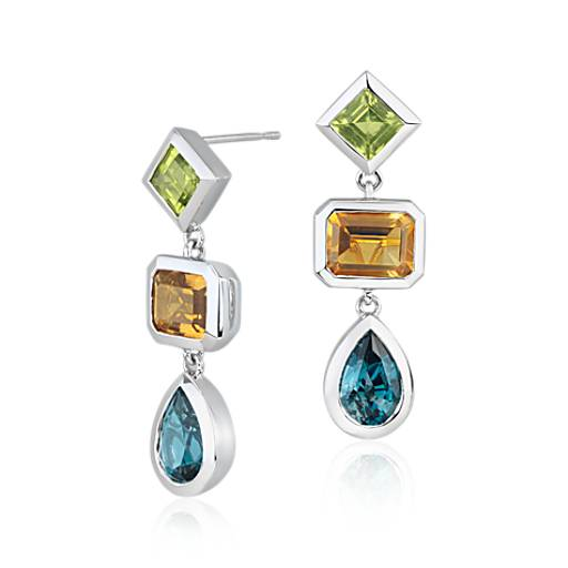 ZAC Zac Posen London Blue Topaz, Peridot and Citrine Dangle Earrings in 14k White Gold (9x6mm)
