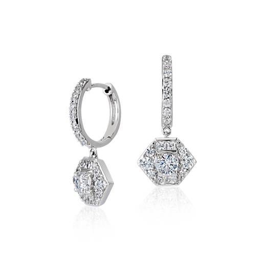 ZAC Zac Posen Diamond Drop Earring in 18k White Gold