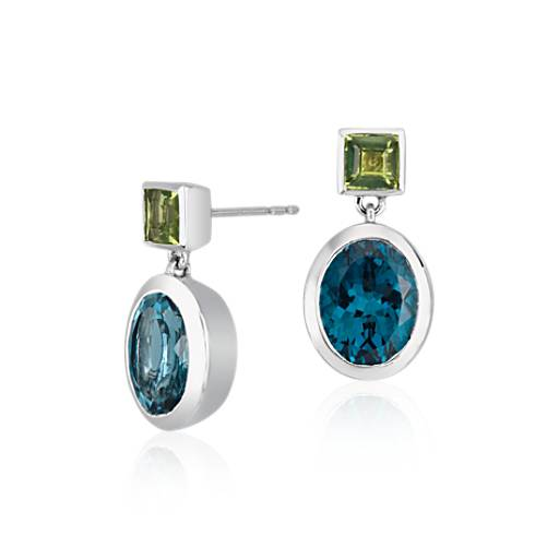 ZAC Zac Posen London Blue Topaz and Peridot Bezel Earrings in 14k White Gold (10x8mm)
