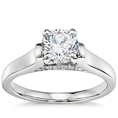 3/4 克拉铂金预镶嵌 Truly Zac Posen 大教堂单石订婚戒指与钻石订婚戒指