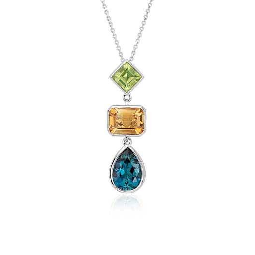 ZAC Zac Posen Citrine, Peridot and London Blue Topaz Pendant in 14k White Gold