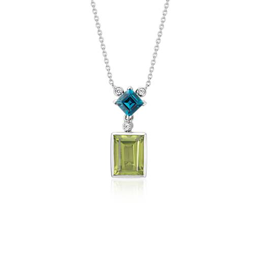 ZAC Zac Posen Peridot and London Blue Topaz Necklace in 14k White Gold