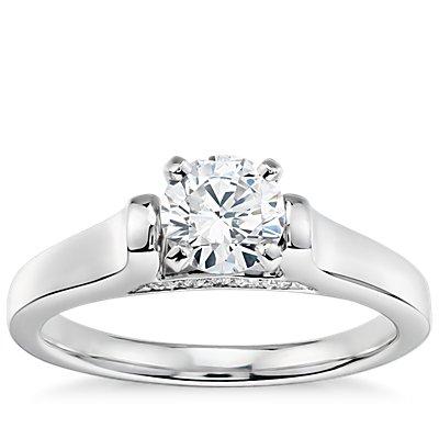 1/2 克拉铂金预镶嵌 Truly Zac Posen 大教堂单石订婚戒指与钻石订婚戒指