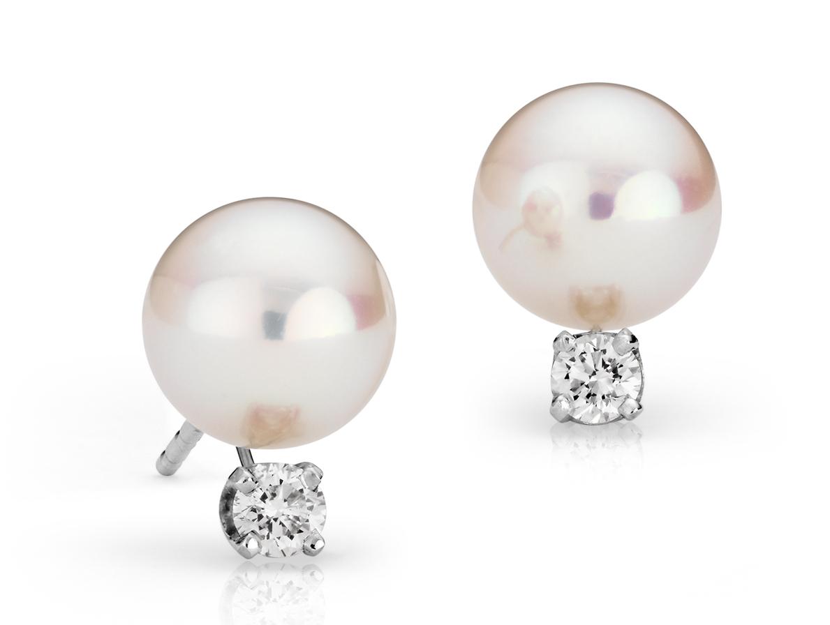 Aretes de perlas de Akoya Premier en oro blanco de 18k