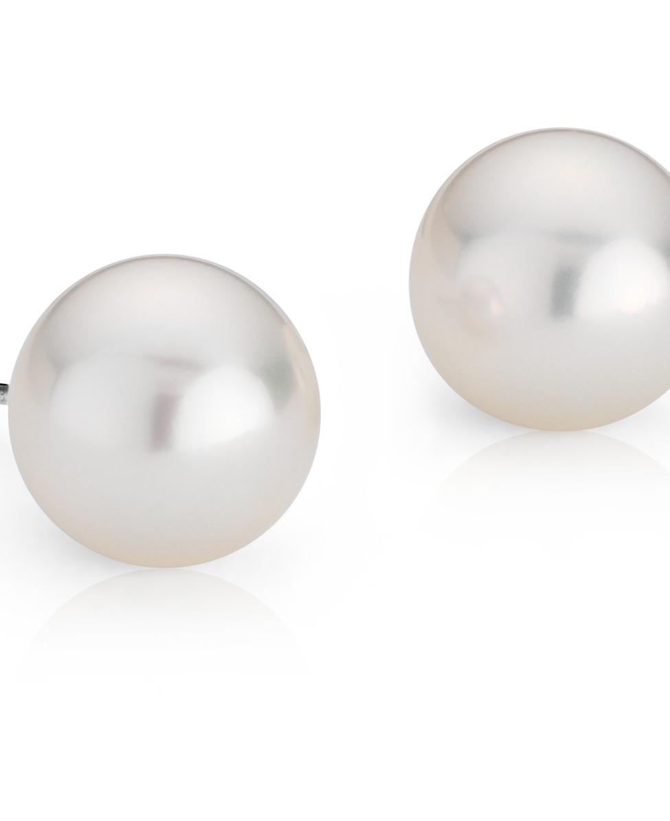 Boucles d'oreilles de perles des mers du sud en or blanc 18carats