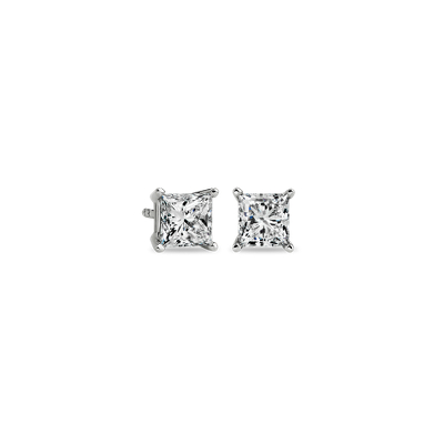 Princess-Cut Diamond Earrings in 14k White Gold