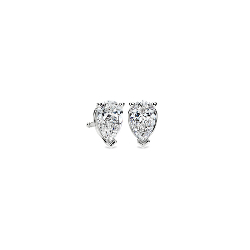 Pear-Cut Diamond Stud Earrings in 14k White Gold
