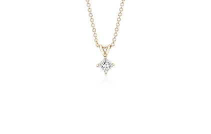 Princess 14k Yellow Gold Diamond Solitaire Pendant