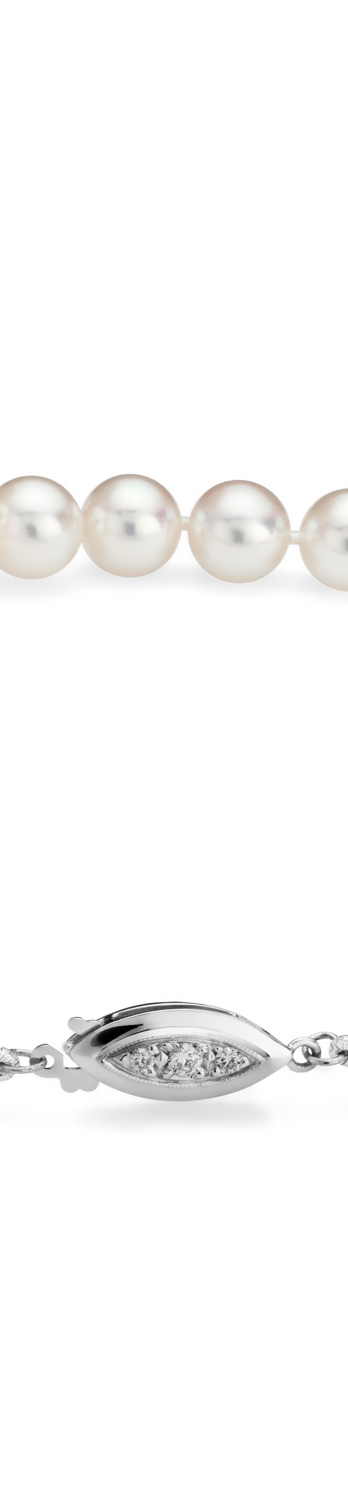 Colliers de perles d'Akoya de la plus haute qualité avec de l'or blanc 18carats