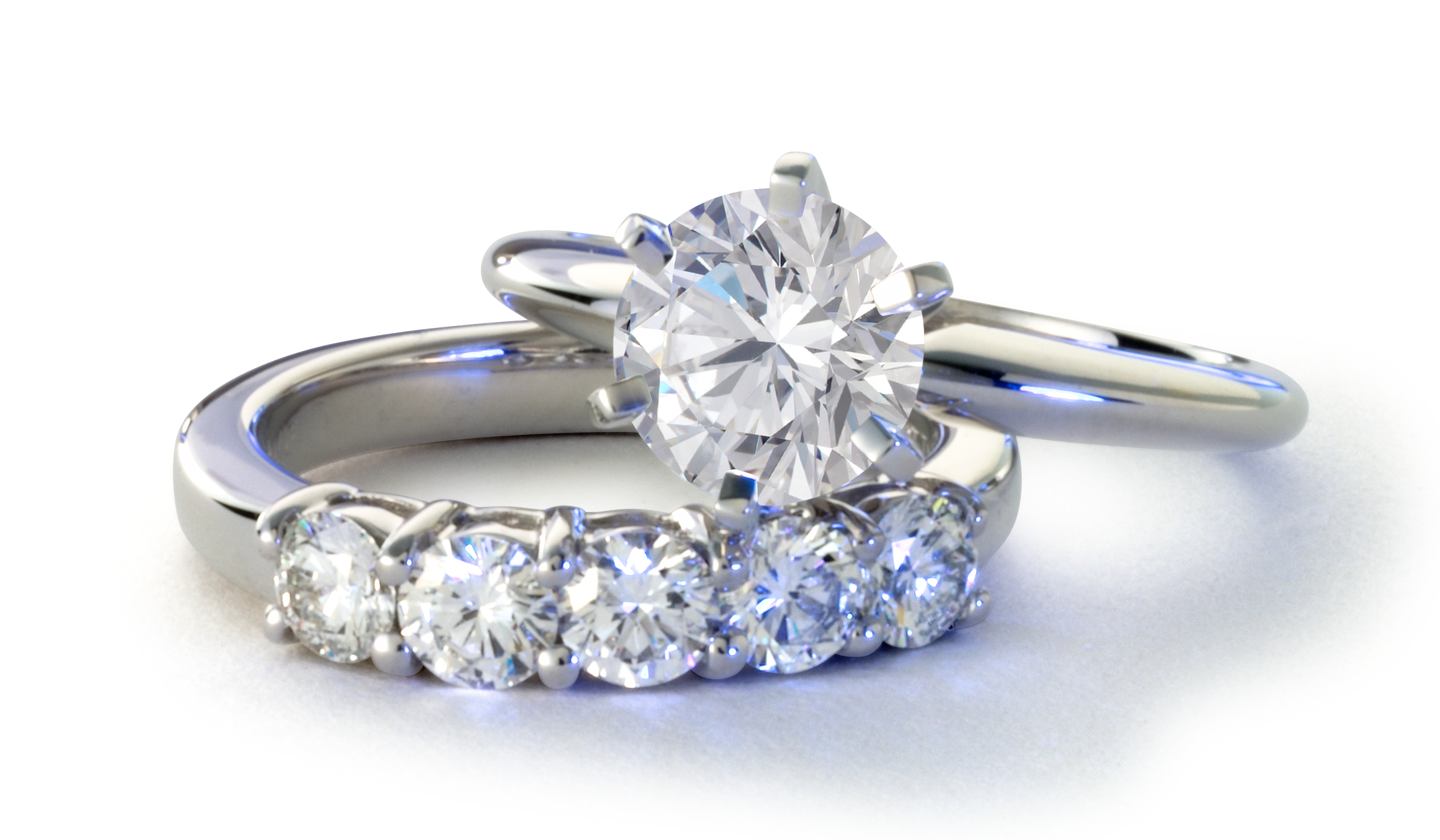 Platinum Six-Claw Engagement Ring and Matching Band