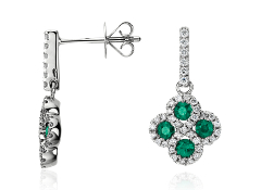 Emerald and Diamond Drop Earrings in 14k White Gold