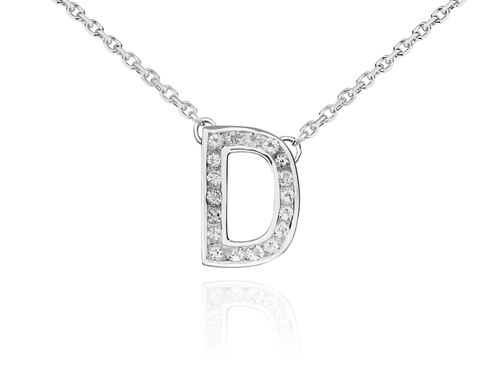 White Topaz Initial Pendants in Sterling Silver