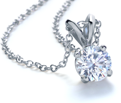 Diamond Solitaire Pendants in 14k White Gold