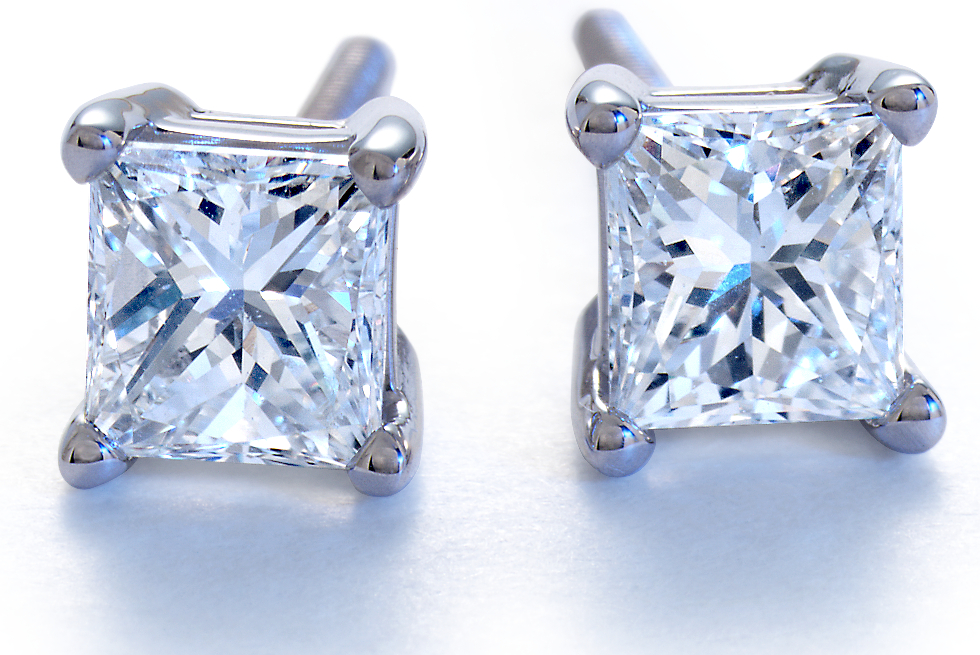 Princess-Cut Diamond Stud Earrings in Platinum