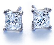 Princess-Cut Diamond Earrings in Platinum