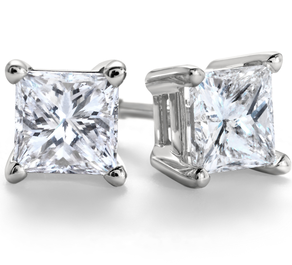 Princess-Cut Diamond Stud Earrings in 18k White Gold