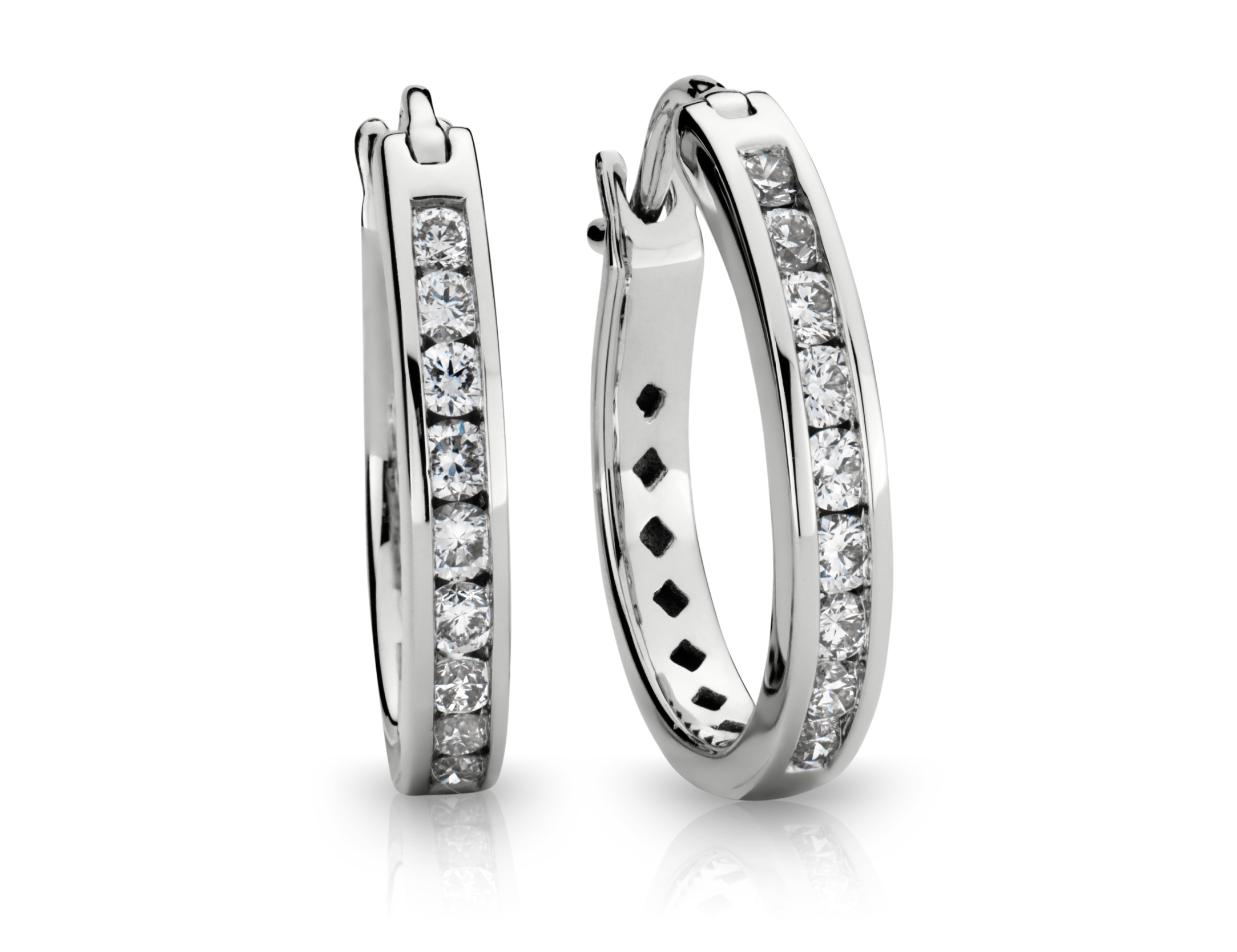 Channel-Set Hoop Diamond Earrings in 18k White Gold