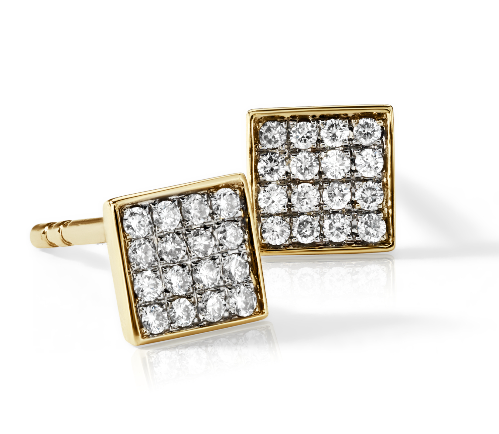 Mini Square Diamond Earrings in 14k Yellow Gold