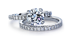 Platinum Pavé Diamond Engagement Ring and Matching Band