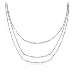 Triple Diamond Bar Necklace in 14k White Gold (1/3 ct. tw.)