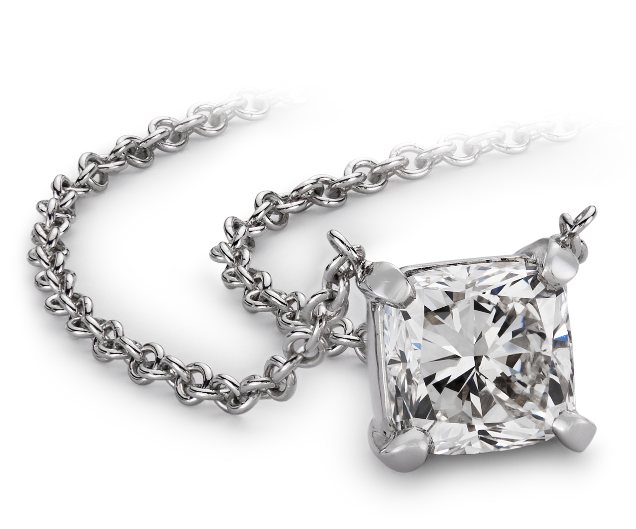 Cushion-Cut Diamond Solitaire Pendants in 14k White Gold