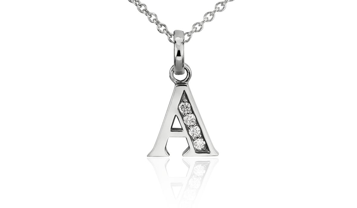 Diamond Initial Necklaces in 14k White Gold