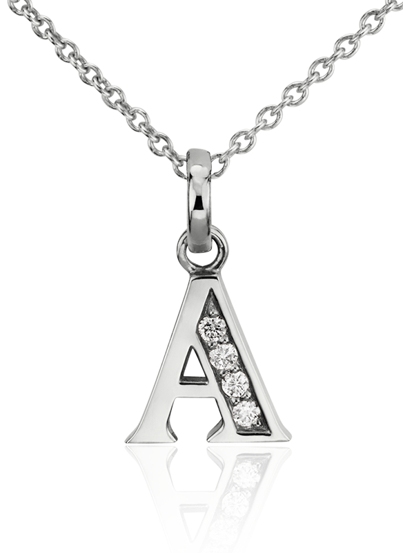 Diamond Initial Pendants in White Gold