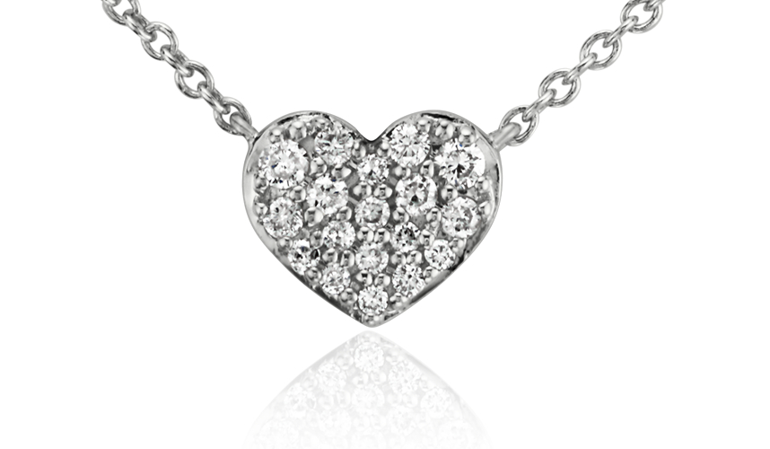 Collier diamant en cœur