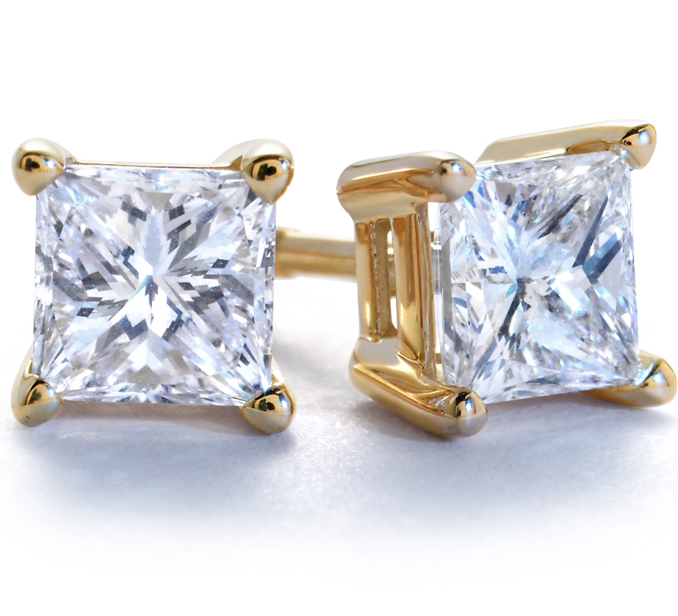 Princess-Cut Diamond Earrings in 18k Gold