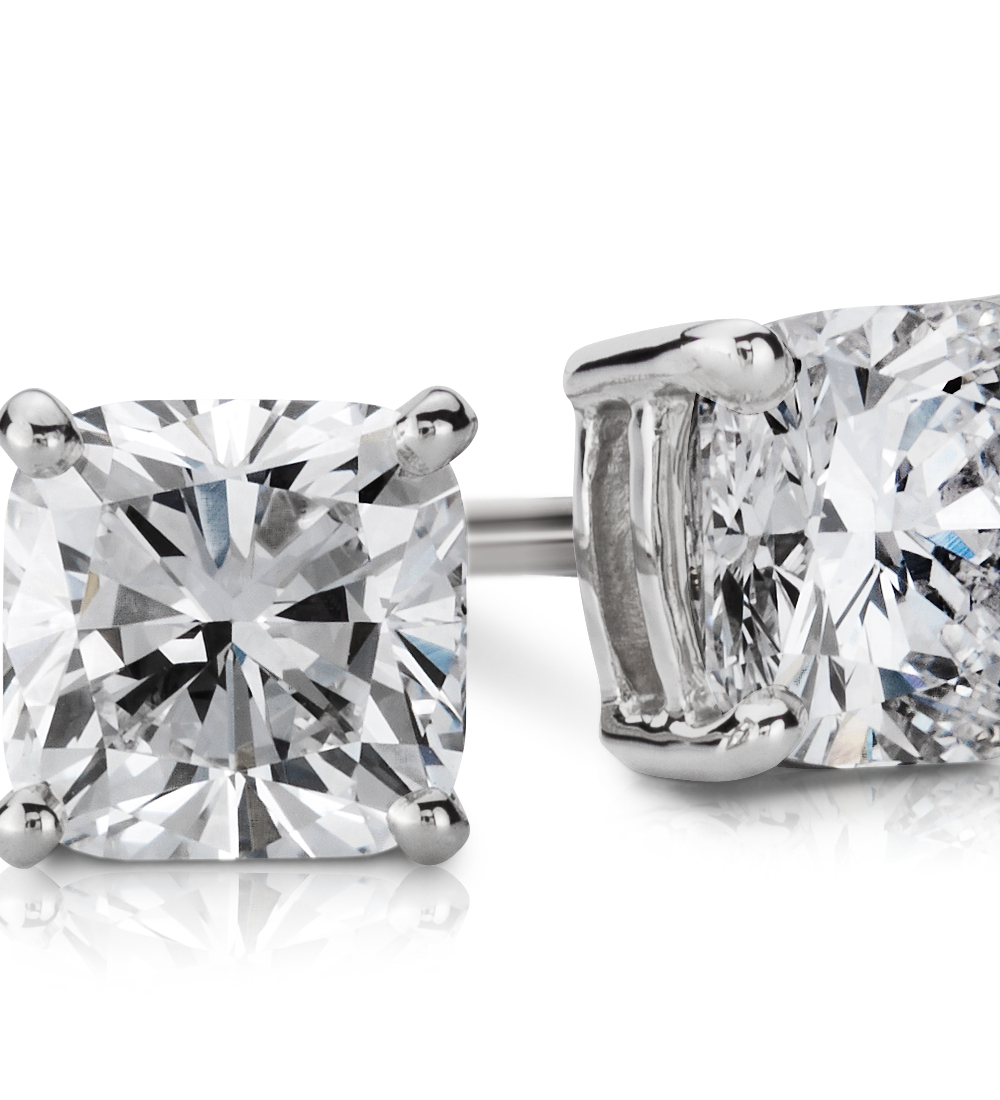 Cushion-Cut Diamond Earrings in 14k White Gold