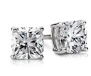 Cushion-Cut Push Back Diamond Earrings in 14k Gold