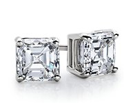 Asscher-Cut Diamond Earrings in 14k White Gold