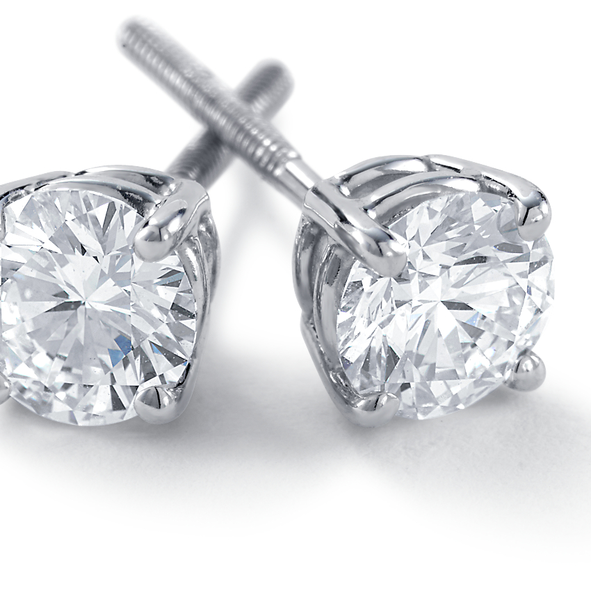 Diamond Stud Earrings in 18k White Gold