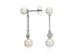 Freshwater Cultured Pearl and Pavé Diamond Bar Earrings in 14k White Gold