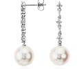 Freshwater Cultured Pearl and Diamond Drop Earrings in 18k White Gold