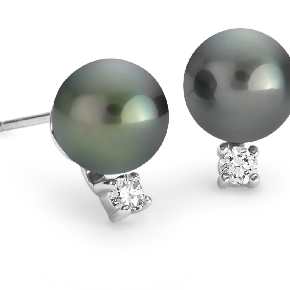 Tahitian Pearl Earrings in 18k White Gold