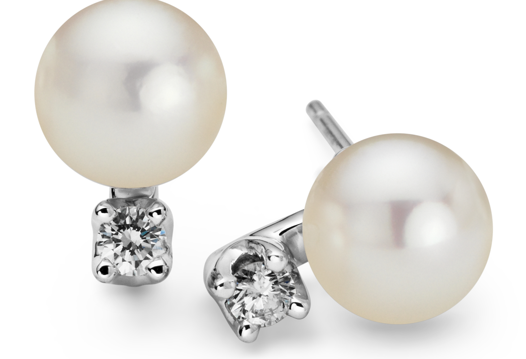 18k White Gold Akoya Cultured Pearl and Diamond Earrings (6.0 - 6.5 mm)