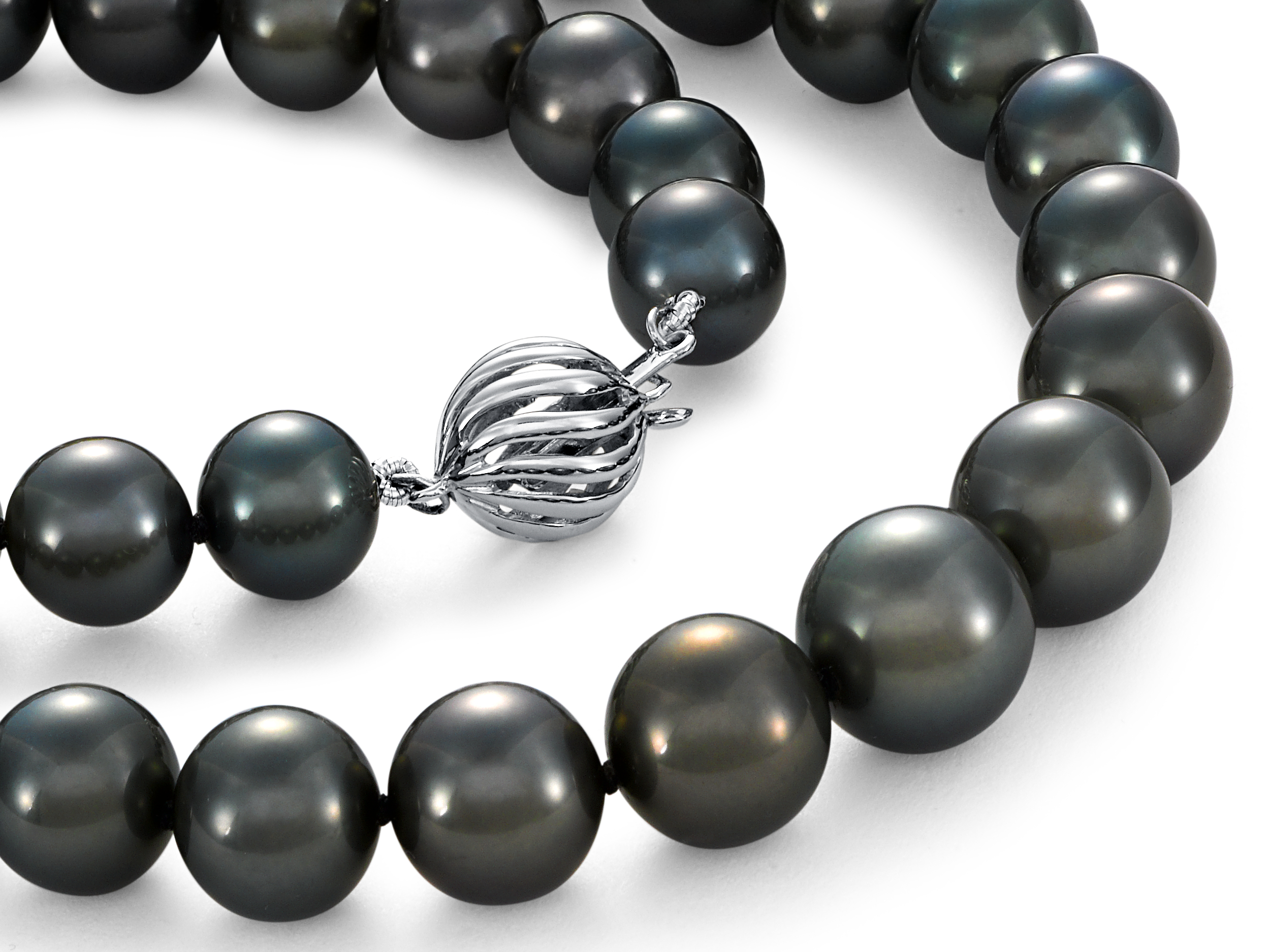 Graduated Tahitian Cultured Pearl Strand with 18k White Gold