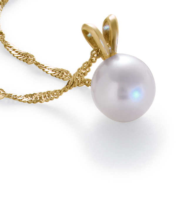 Freshwater Pearl Pendants in 14k Gold
