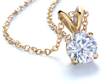 Diamond Solitaire Pendants in 18k Gold